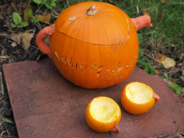 How To Carve A Pumpkin Teapot Here Come The Girls