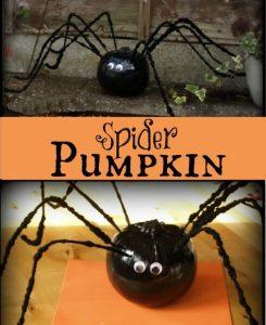 Spider pumpkin - a spooky Halloween decoration made form a pumpkin