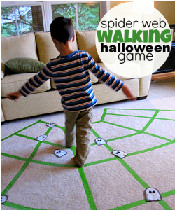 Spider web walking party game