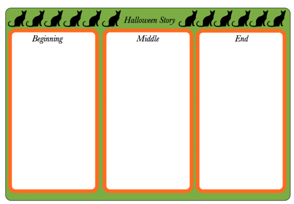 halloween story writing here come the girls halloween cat planning sheet