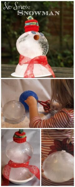No snow snowman - create a snowman using frozen balloons