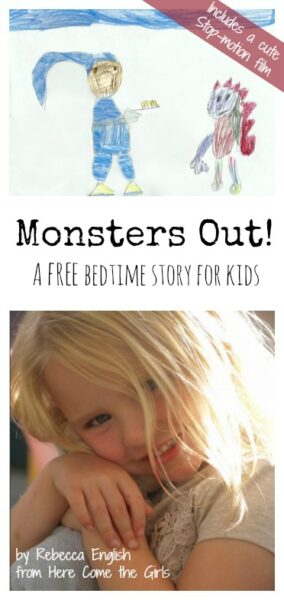 "This is adorable: ""Monsters Out"", a FREE bedtime story and cute stop motion animation. So great for kids who are scared of monsters under their bed."