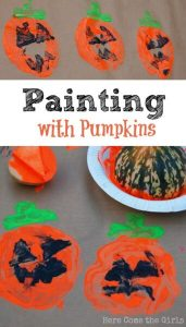 Painting with pumpkins - a fun open ended craft activity for kids at Halloween.