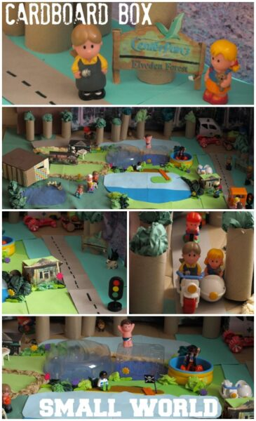 Create a small world for your toys using cardboard and paper.