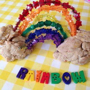 rainbow play dough and beads