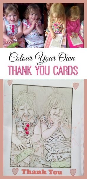 Colour your own thank you cards. Easy card making for little ones. Great for birthdays and Mother's Day too