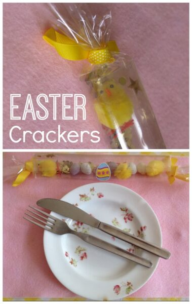 Easter egg crackers. A fun way to decorate the Easter table.