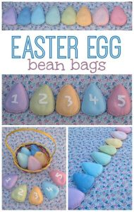 Easter egg bean bags made from felt