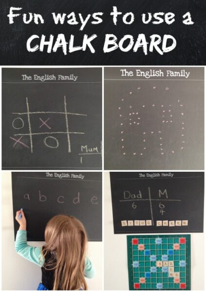 Do you have a chalkboard in your house? Here are lots of fun ways to use it including, games, learning and creative ideas