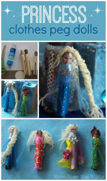 Turn some clothes pegs into princesses in this fun kids craft. Great idea to use photos of the kids too!
