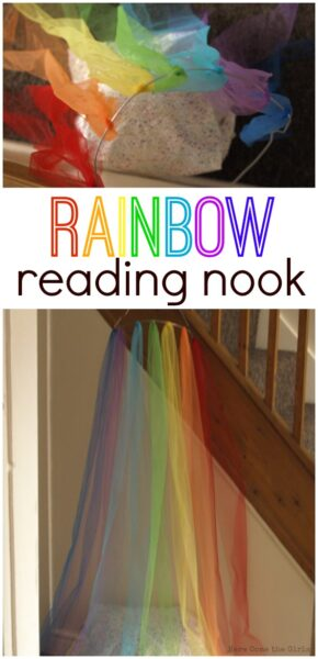 Super easy reading nook for children to read in quiet. Feels like you are inside a rainbow.