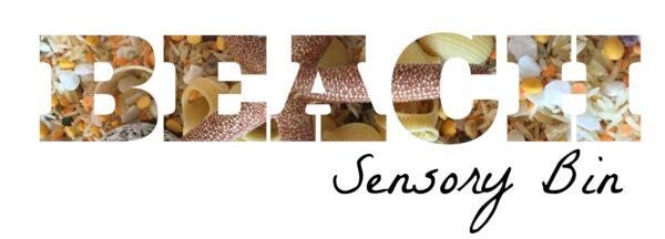 Beach sensory bin title