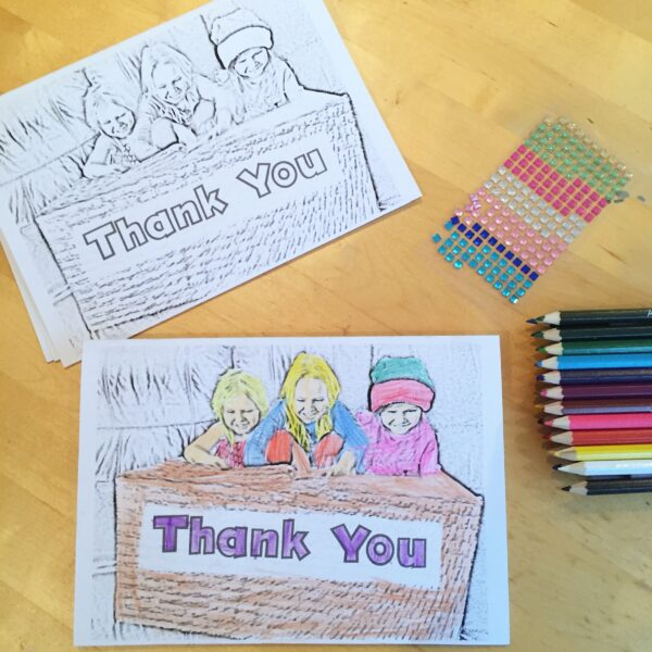 Personalised Colouring In Thank You Cards