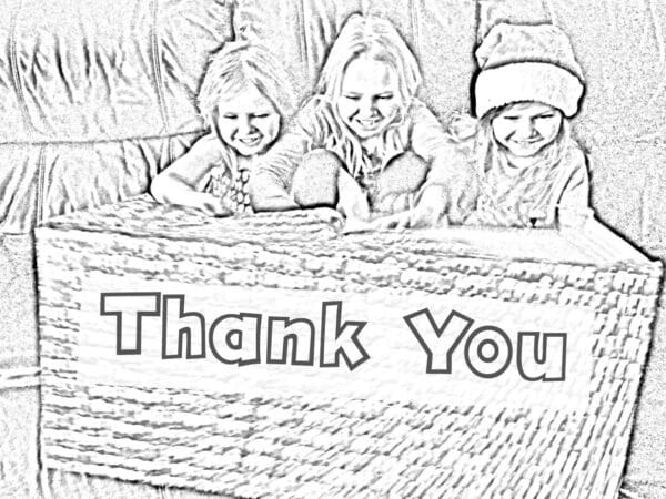 colouring in Thank you card