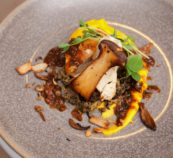 corn fed chicken, wild mushrooms, lentils and root vegetable puree